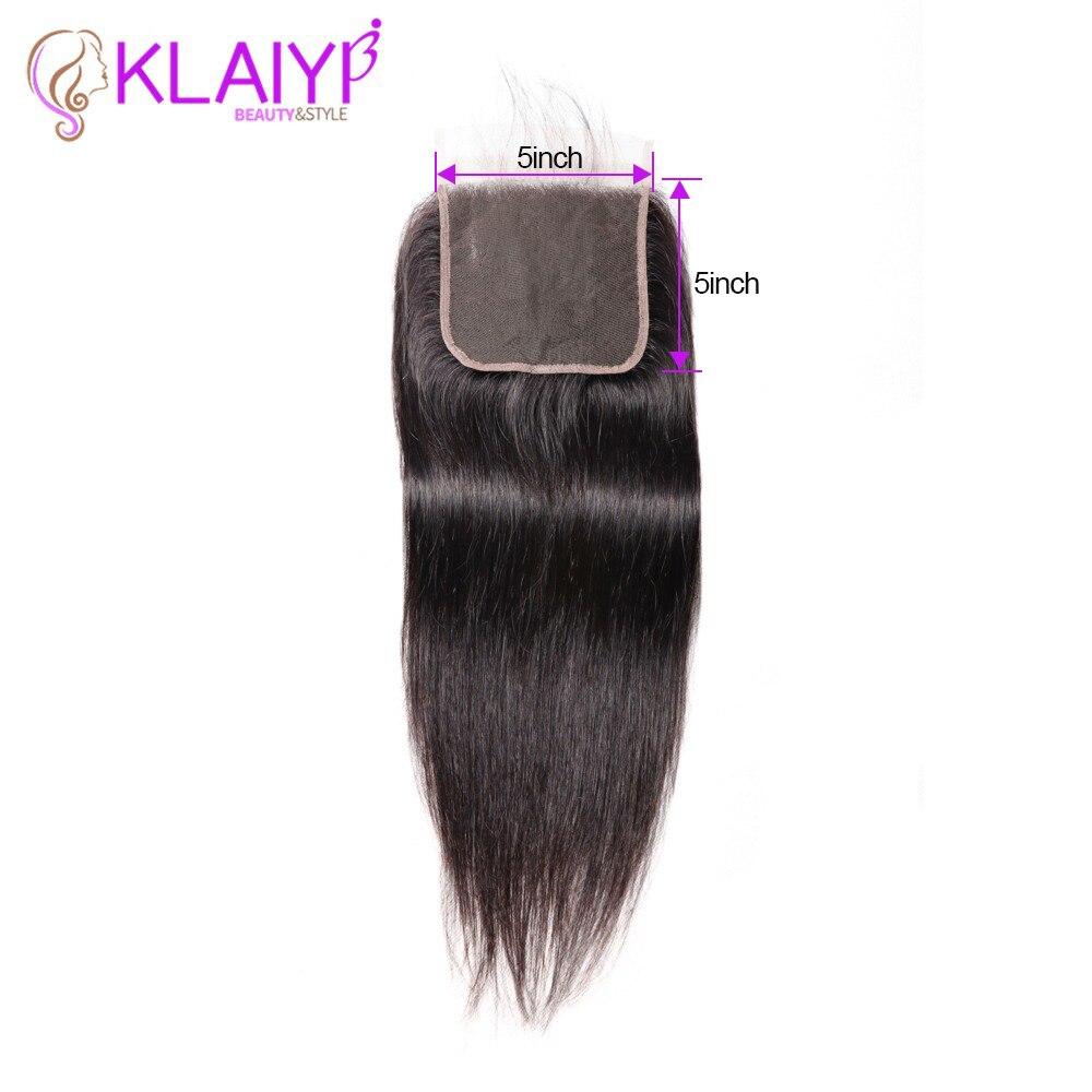 KLAIYI Human Hair Closure 5*5 Straight Closure 8-18inch Lace Closure Brazilian Remy Hair Swiss Lace Closure Natural Color