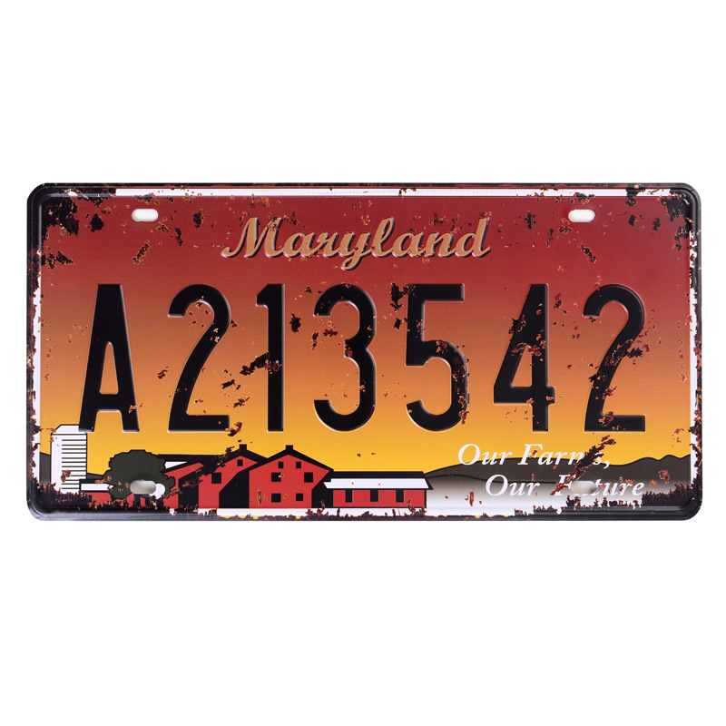 Retro license plate car number  MARYLAND A213542  vintage metal tin signs garage painting plaque Sticker 15x30cm