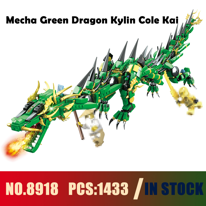 Models building toy 8918 1443PCS 2in1 Ninja Mecha Green Dragon Kylin Cole Kai Building Blocks Compatible with lego toy & hobbies compatible with lego ninja 70596 models building toy 10530 1307pcs base home samurai x cueva building blocks toys