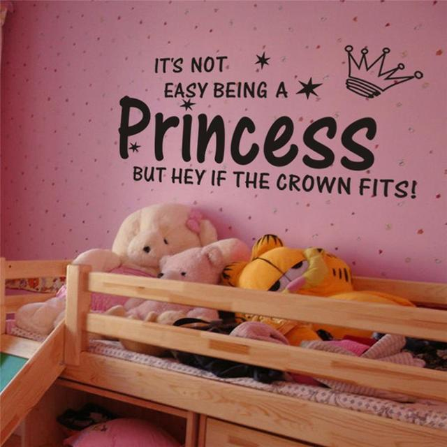 Aliexpress buy princess crown quotes wall stickers