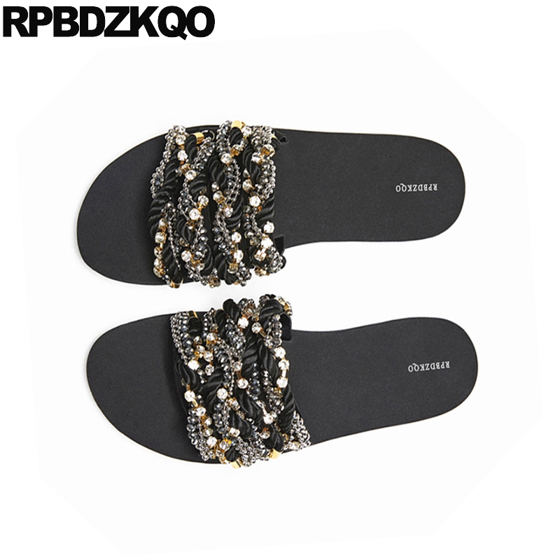 Diamant Taille Sandales Bijou Sur Bout Cristal Diapositives D'été Plat Grande Chaussures Fit Doux 2018 Slip Femmes Large Strass Pantoufles Ouvert Noir qwtT6xF55
