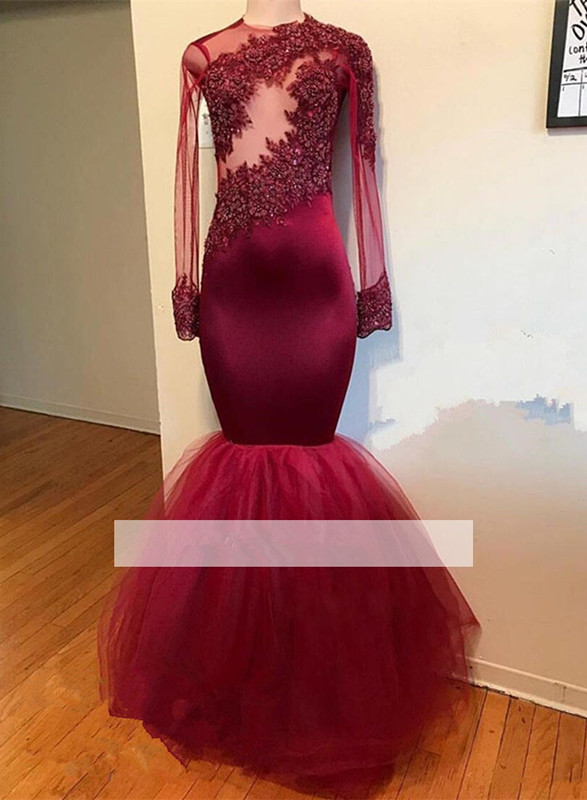 Burgundy 2019 Prom Dresses Mermaid Long Sleeves Tulle Lace Pearls Party Maxys Long Prom Gown Evening
