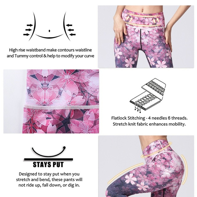 Women Fitness Yoga Pants Slim High waist Sport Leggings Gym Elastic Romantic Printed Long Tights for Running Tummy Control 3