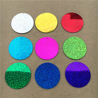 1kg Wholesale 50mm Large Round Sequins PVC flat Sequin Paillettes sewing Hologram Sequins wedding craft with 1 Side Hole