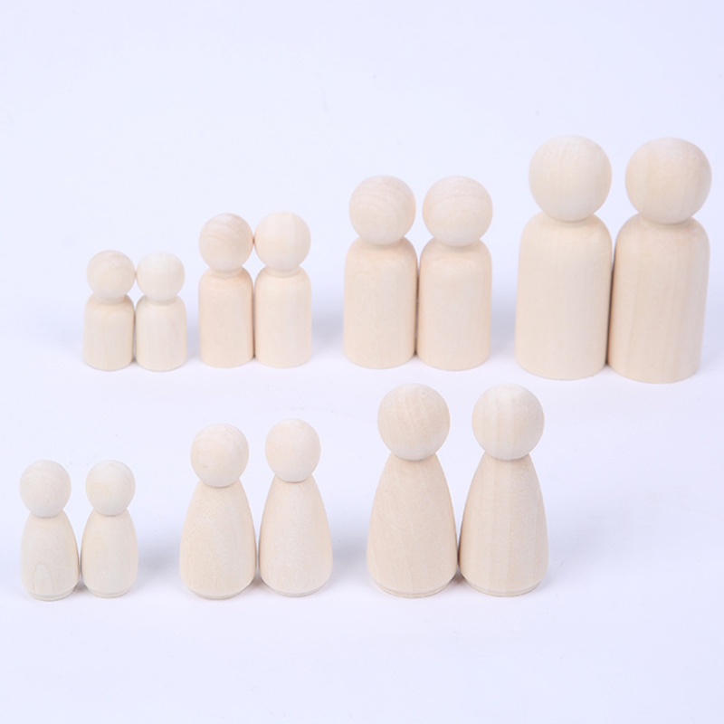 Creative Toy Wood People  Manual Painting Dolls Crafts  Graffiti Woodman Solid Hard  Different Size  Children Kids