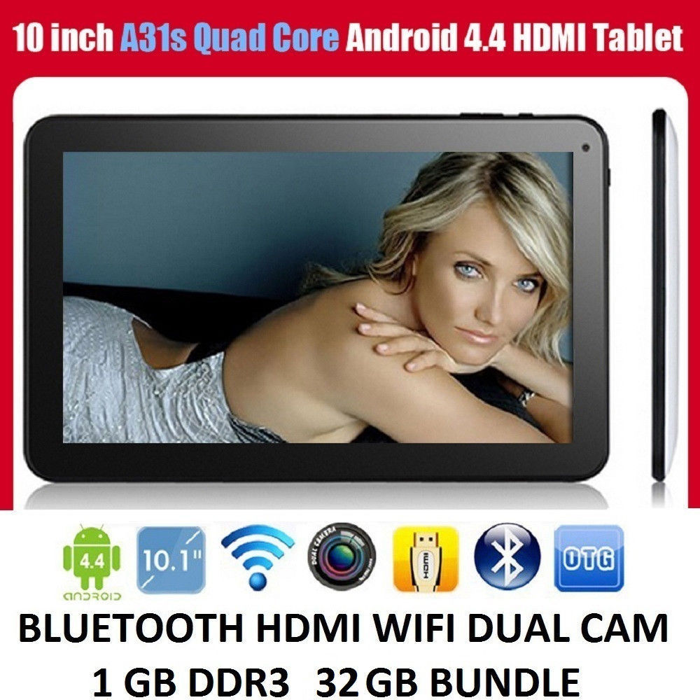 10.1 Inch  GOOGLE QUAD CORE KITKAT ANDROID 4.4 TABLET PC READER BLUETOOTH 32GB HDMI