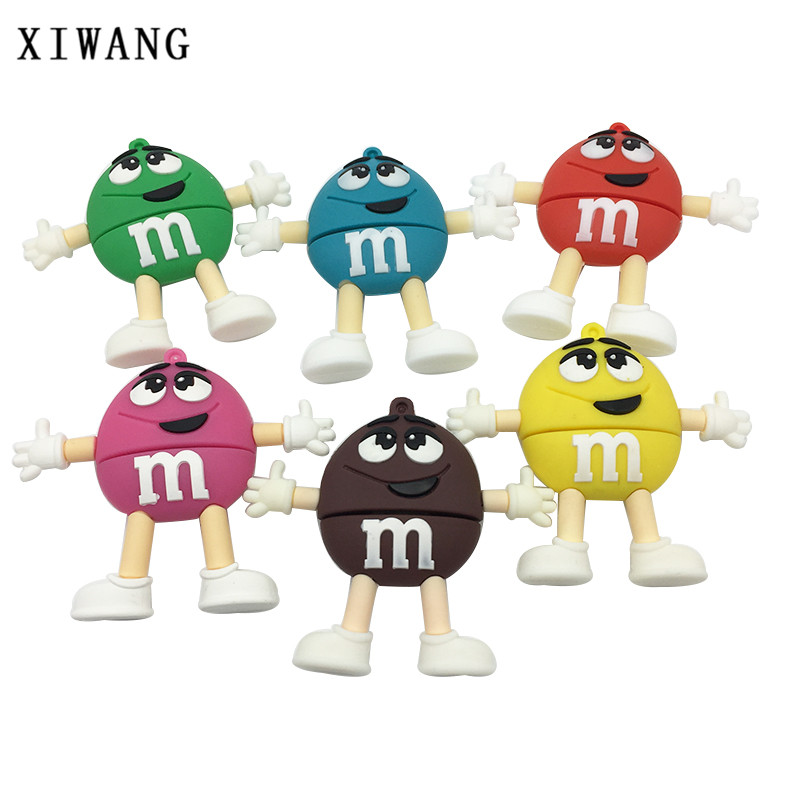 XIWANG Usb Flash cartoon M chocolate beans usb2.0 4GB 8GB 16GB 32GB 64GB USB flash drive memory stick pen U disk free shipping cute cartoon fish style usb 2 0 flash drive disk blue white 4gb