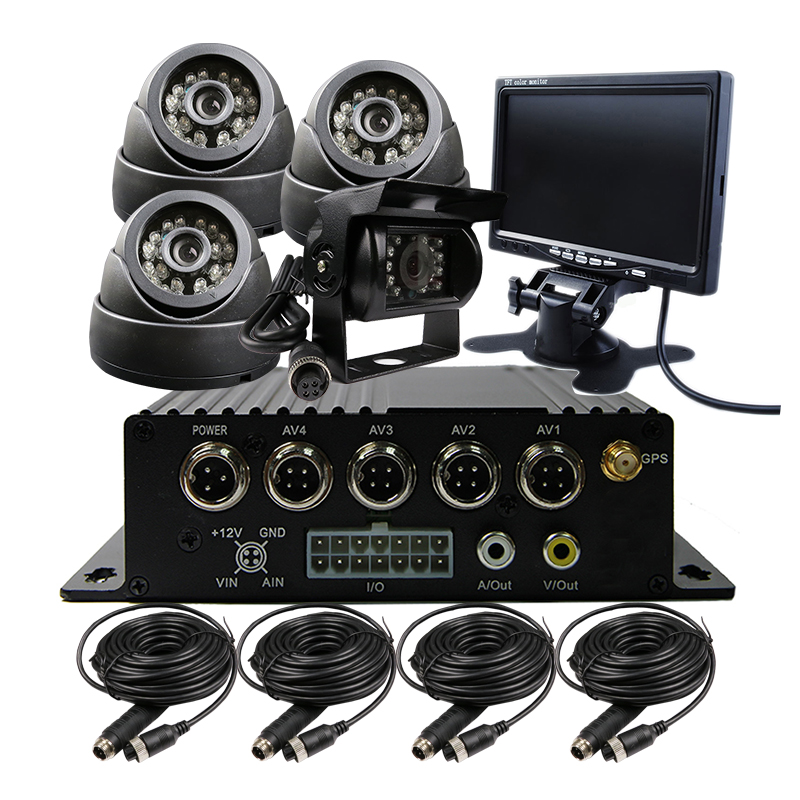 4CH SD H.264 I/O GPS G-sensor Track Car Vehicle DVR Video Recorder Kit Car CCTV Camera 7 LCD For Truck Van Bus Free Shipping free shipping 4ch gps 3g track h 264 i o 256gb sd car mobile dvr recorder mdvr realtime monitor for phone pc for truck van