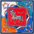130cm*130cm 100% Silk Euro Brand Floral Style Women Horse and Tassels Printed Silk Square Scarf Femal Fashion Shawls