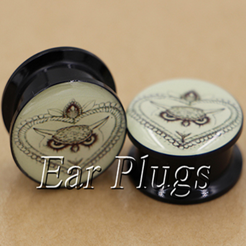 1 pair rope owl tattoo pattern ear plug gauges tunnel acrylic screw flesh tunnel body piercing jewelry PAP0621