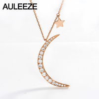AULEEZE 0.6 cttw כוכב ירח טבעי יהלומים מוצק 18 K 750 עלה זהב שרשרת תליון לנשים יהלום אמיתי בסדר תכשיטי