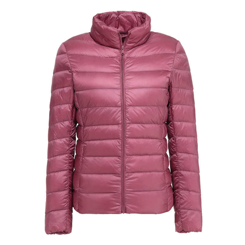 ¡Novedad de otoño-invierno! Abrigo de plumas fino corto y delgado de mujer 7XL, chaqueta de cuello alto abrigada y ultraligera, prendas de vestir de plumas de gran tamaño