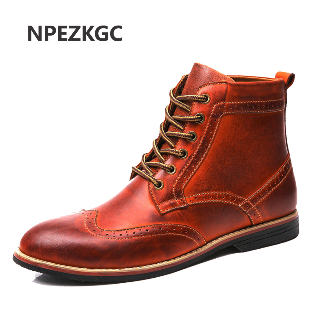 NPEZKGC Plush Size 38-47 Mens Two Tone Genuine Leather Brogue Autumn Winter Ankle Boots Formal Dress Oxford Snow Boot