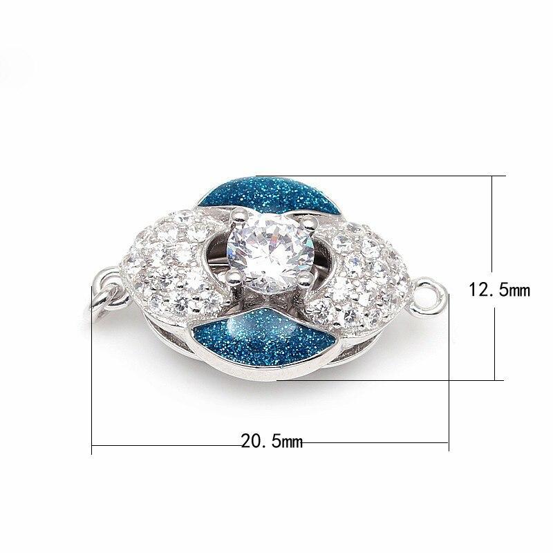 Hot violet et bleu émail Zircon Pave solide en argent Sterling boîte fermoirs crochets bijoux accessoires pour collier de perles SC-BC222 - 4