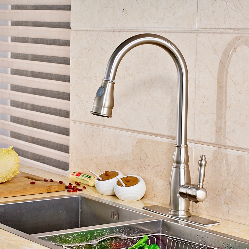 Uythner Modern Deck Mount Kitchen Basin Faucet Mixer Tap Single Hole With Square Plate