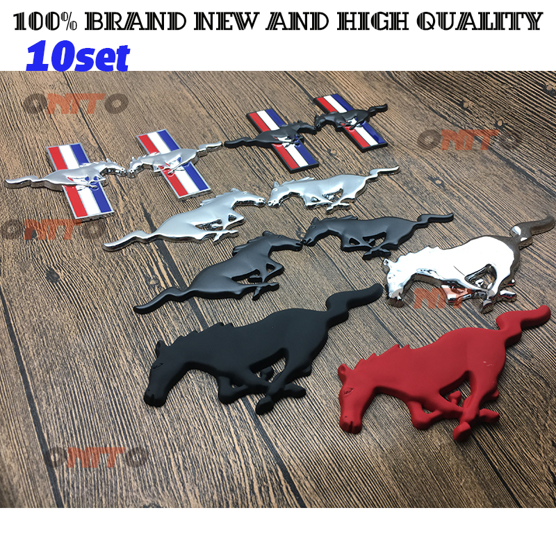 10set car styling Horse Mustang logo badge Emblem For Ford Head Rear Side Window Auto Decals trun rear Front Hood Grille Badge auto car chrome tri bar running horse pony for mustang emblem badge sticker