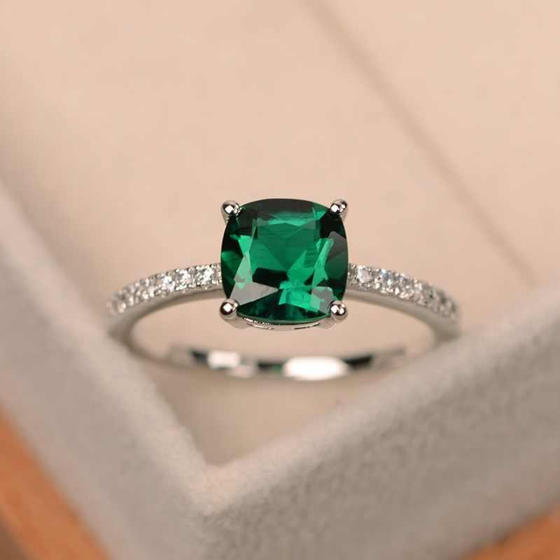 OMHXZJ товары по оптовым ценам, европейские модные обувь для мужчин и женщин; праздничный свадебный подарок различных Цвета квадратный AAA циркон кольцо из стерлингового серебра 925 RR37