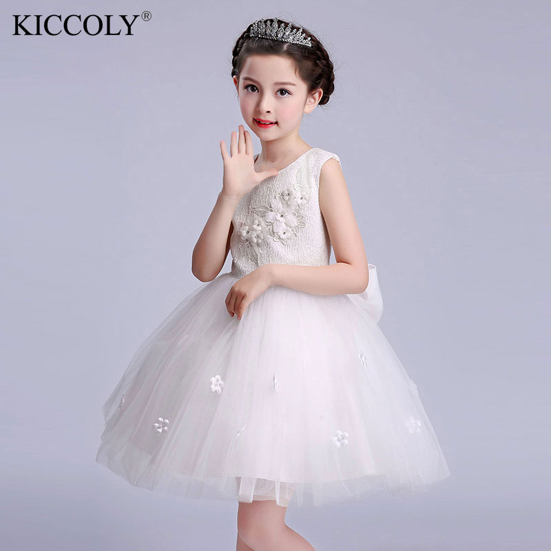 4-16Years Princess Girl Dresses For Wedding Party Evening Bridesmaid Kids Bow Sleeveless Tulle White Tutu Flower Girls Dress summer 2017 new girl dress baby princess dresses flower girls dresses for party and wedding kids children clothing 4 6 8 10 year