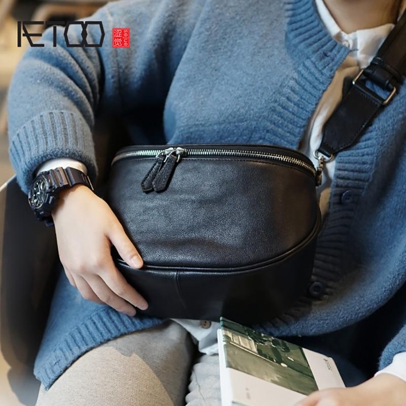 AETOO Retro Japanese Men And Women Handmade Cowhide Shoulder Oblique Bag, Casual Korean Version Leather Chest Bag