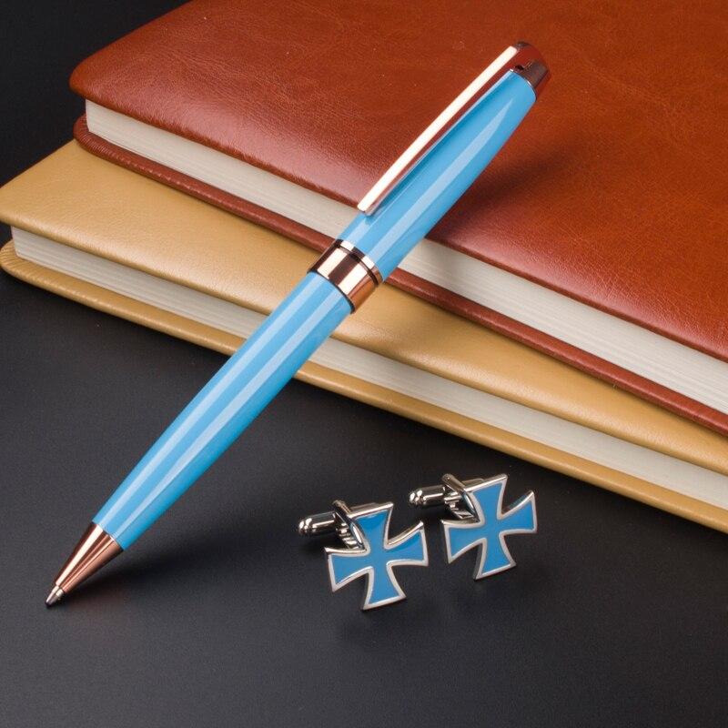 Hot Selling New Ballpoint Pen MONTE MOUNT Sky blue Medium Nib Gold Trim Cufflinks charter club new blue sky women s medium m cable knit crewneck sweater $59 359
