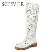 SGESVIER Womens Sandals Knee High Women Summer Boots Sexy Fashion Sandal Heels Ladies Gladiator Boots Open