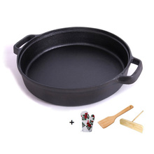22cm/25cm Uncoated BBQ Roasting Pan Double Handle Thickened Cast Iron Omelet Frying Non-stick Crepe Pancake Grill Cooker