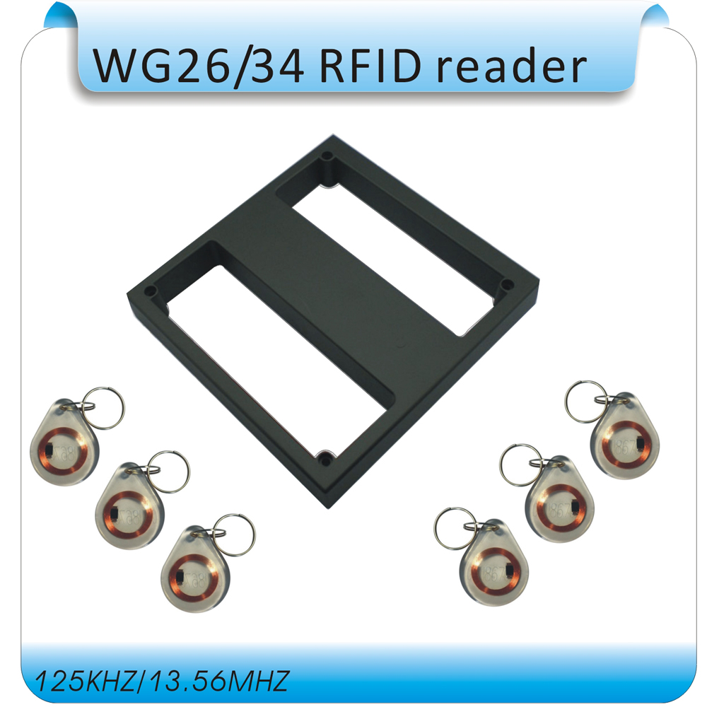 Y1 The longest 1M distance Access control card reader /RFID reader/ WG26/34 or 485 port  waterproof+10 crystal keyfobs free shipping waterproof metal shell 125khz rfid access control card reader with wg26 port 5pcs crystal keyfobs