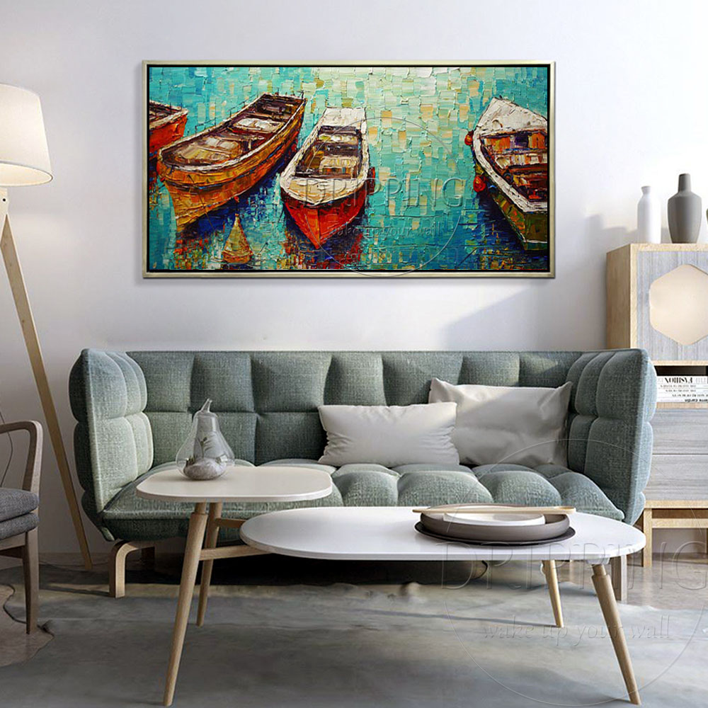 Artist Hand painted Special Landscape Modern Boats Oil Painting on Canvas Hand painted Textured Boat Oil Painting for Wall Decor in Painting Calligraphy from Home Garden