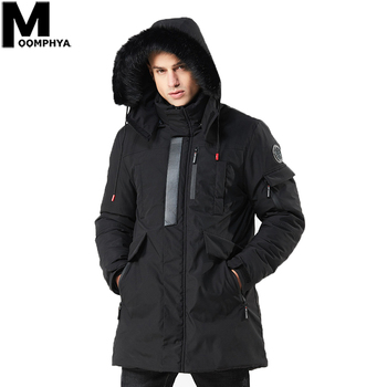 Moomphya Men Clothes 2019 Hooded Warm Badge Men Parka Streetwear Long Style Winter Jacket Men Windbreaker Men's Coat Outwear
