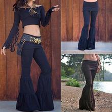 New Womens Vintage High Waist Pants Bell Bottom Stretch Flare Wide Leg Long Boho Hippie Trousers