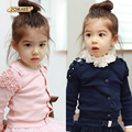 Primavera/Outono Meninas Cardigan Crianças Roupas de Bebê Outerwear 2 3 4 5 6 8 Anos Crianças Roupas Princesa Rendas Topo Escola uniforme