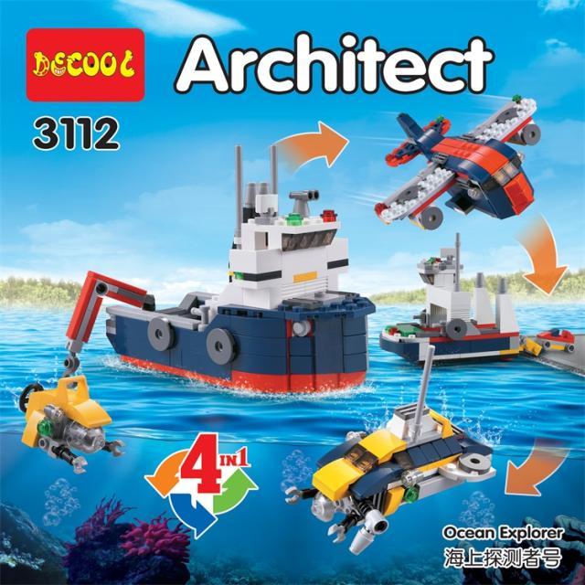 213pcs DECOOL 3112 City Creator 4 in 1 Ocean Explorer Submarine Aircraft Building Blocks Toys Fit for architecture