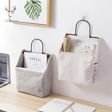 Grey White Bed Storage Pockets Canvas Bedside Wall Hanging Magazine Organizer Holder for Office Table