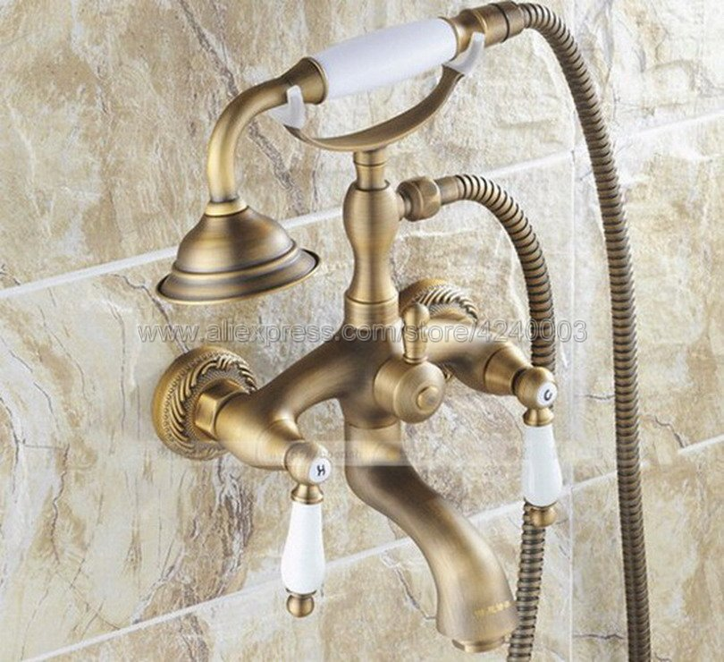 цена на Bathtub Faucets Telephone Style Tub Mixer Taps Dual Handle Bathroom Bath Shower Faucet with Handshower Ktf022