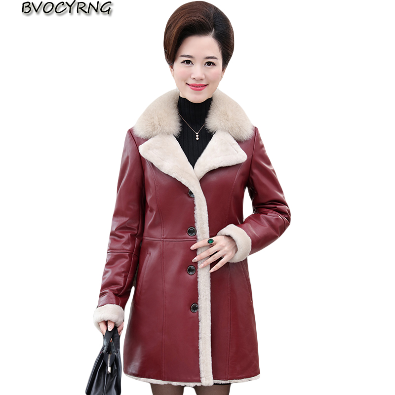 New Winter Jacket Women High-grade Artificial Fur Coats PU Jacket Plus Size Thick Winter   Leather   Jacket Middle-aged Female Coat