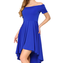romacci Women Off Shoulder Sexy Short Sleeve High Low Hem Skater Dress  Royal Blue XXL d4ae320f2
