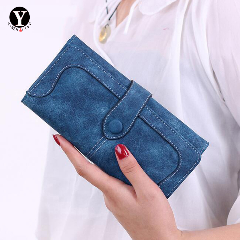 Yirenfang Womens Wallets And Purses 2017 Credit Wallet Women Luxury Brand Clutch Stitching Scrub Leather Money Clip Long Lady womens wallets and purses famous 2016 fashion money clip wallet women luxury brand matte stitching long clutch free shipping