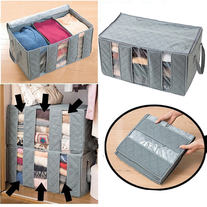 Hot sale 65L Large Charcoal Clothes Sweaters Blankets Closet Organizer Storage Bag Box Storage Bags Organizer #3j17 (5)