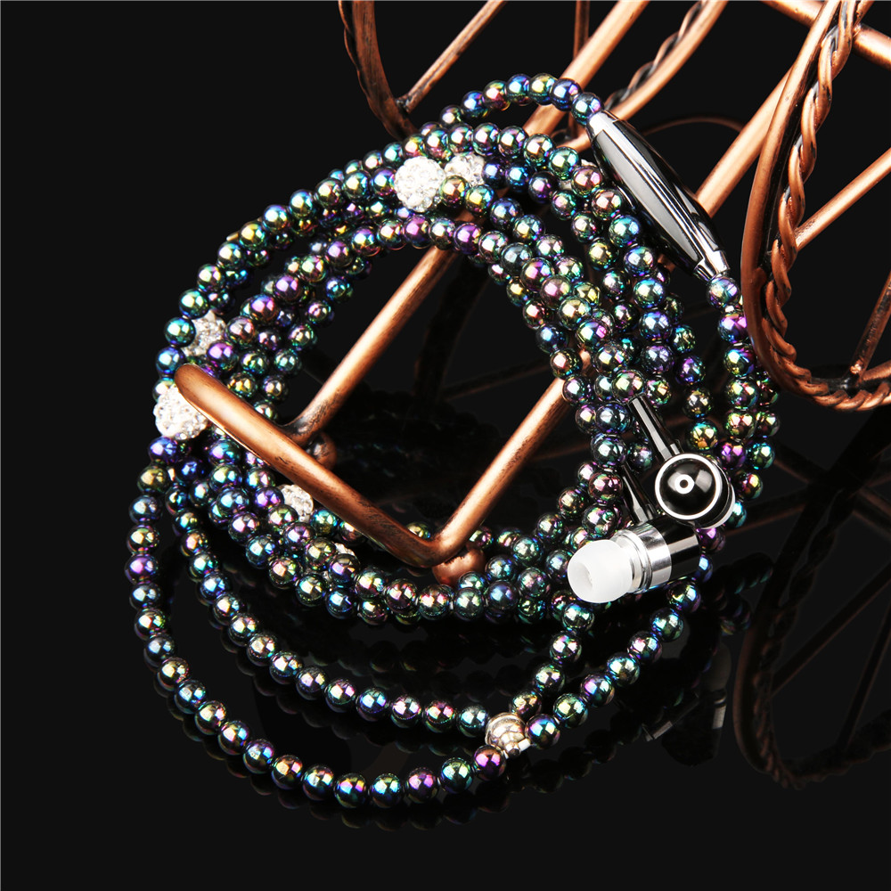 Luxury Bling Diamond Earphone Lady Pearl Necklace Chain Stereo In-Ear Earphones With Microphone For iphone 6 6s samsung Headset eichholtz бра primo large