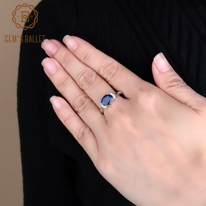 GEM S BALLET 2 02Ct Classic Natural Blue Sapphire Rings For Women Real 925 Sterling Silver