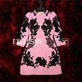 2017 diseñador runway nueva primavera otoño dress alta calidad de las mujeres 3/4 manga de encaje bordado appliques pink mini dress