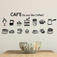Novo Café Chegada Decalque Da Parede Do Vinil Sinal Bolo de Café Xícara de Café Café Bar Decoração Da Parede Arte Mural Adesivo De Parede Decoração De Vidro