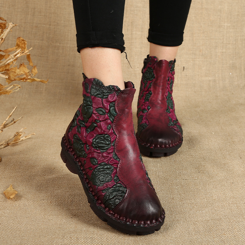 2017 winter new plus velvet ethnic wind boots women leather casual Martin boots soft bottom comfortable mother shoes Large size 2017 autumn and winter new plus velvet thick women s boots soft bottom comfortable breathable mother shoes wild leather