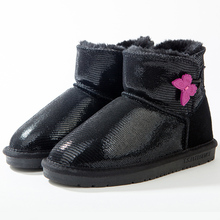 T.S. enfants bottes En Cuir Véritable enfants Filles D'or Papillon bouton neige Bottes enfants hiver femelle enfants chaud Cheville chaussures