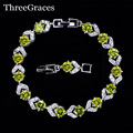 6 Color Options 925 Sterling Silver Clear White And Olive Green Cubic Zircon Crystal Fashion Friendship Bracelets For Women BR99
