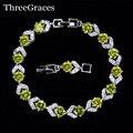 6 Opciones de Color Plata de Ley 925 Blanco Claro Y Verde Oliva Cubic Zircon Crystal Pulseras de La Amistad de La Manera Para Las Mujeres ENVIOS BR99