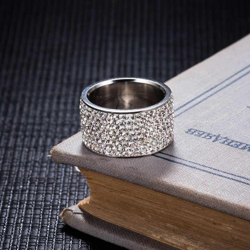 ZORCVENS Nuovo di Modo di Marca Completa di Cristallo Dei Monili di Modo 316L In Acciaio Inox Anelli di Fidanzamento di Nozze per Le Donne