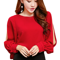 Elegant Office Ladies Blouses Women Tops Lantern Sleeve Red Shirts Female Chiffon Blouse Women Tops Winter Autumn Blouse Shirt