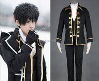 Gintama Cosplay Silver Soul Sakata Gintoki Cosplay Clothes Costume Okita Sougo Shinsengumi Full Black Uniform Set