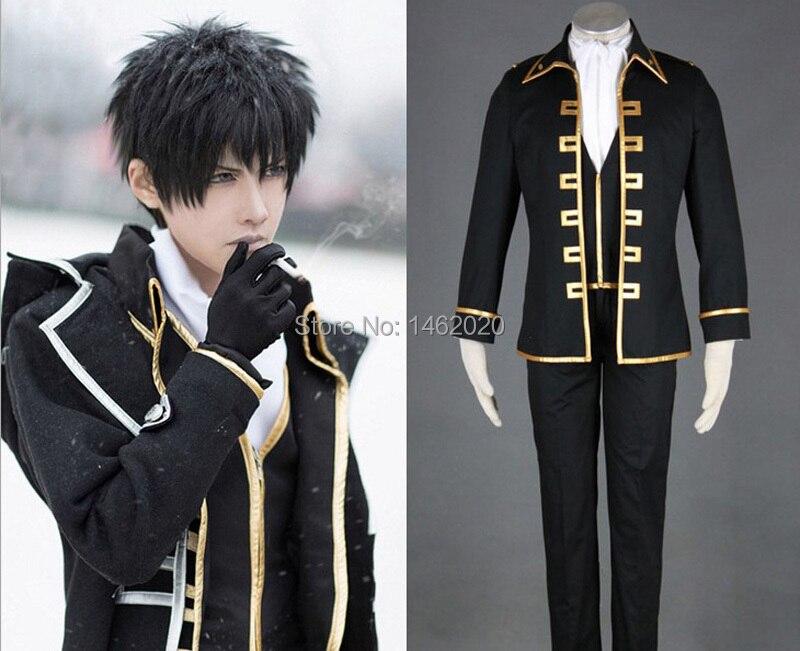 Gintama Cosplay argent âme Sakata Gintoki Cosplay vêtements Costume Okita Sougo Shinsengumi ensemble uniforme noir complet